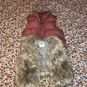 Old Navy Puffer and faux fur vest
